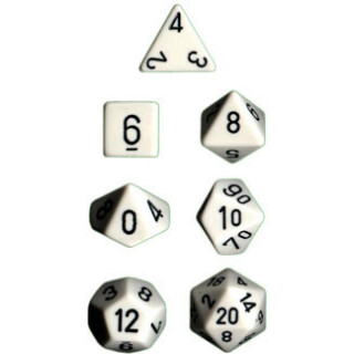 White w/black Opaque Polyhedral 7-Die Sets