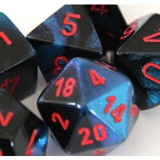 Black-Starlight w/red Gemini 16mm d6 with pips Dice Blocks (12 Dice)